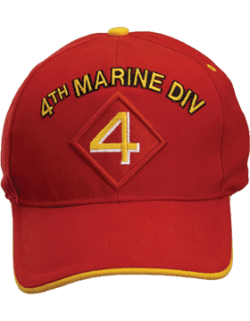 Cap (DC-MC/P-004A) Red with 4 Marine Division Patch