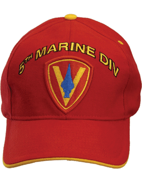 Cap (DC-MC/P-005A) Red with 5 Marine Division Patch