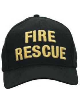 Cap (DC-U-0023A) Black with FIRE RESCUE (3D) Gold