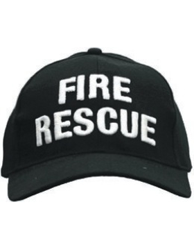 Cap (DC-U-0024A) Black with FIRE RESCUE (3D) White small