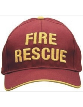Cap (DC-U-0154A) Red and Gold with FIRE RESCUE (3D) Gold