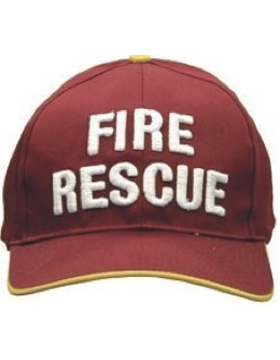 Cap (DC-U-0155A) Red and Gold with FIRE RESCUE (3D) White