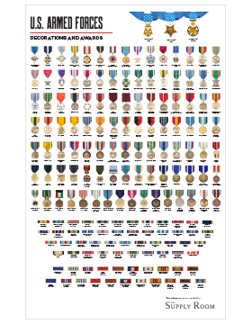 Military Medals Display Poster 11 x 17