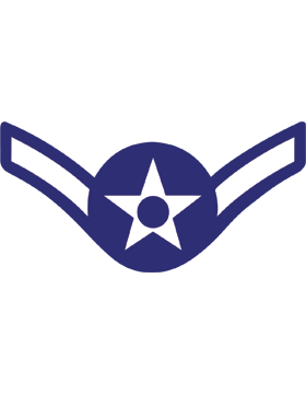 U.S. Air Force Chevron Decal White on Blue Airman