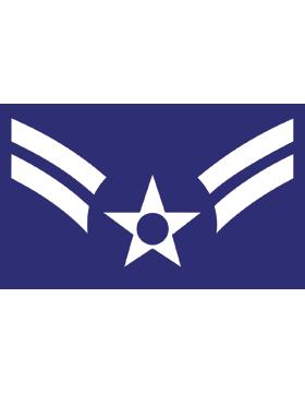 U.S. Air Force Chevron Decal White on Blue Airman First Class (A1C)