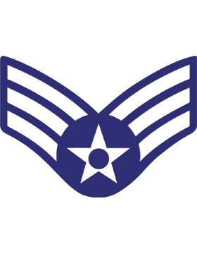 U.S. Air Force Chevron Decal White on Blue Senior Airman