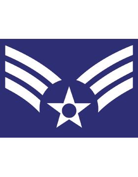 U.S. Air Force Chevron Decal White on Blue Senior Airman