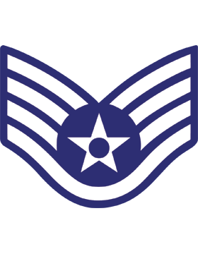 U.S. Air Force Chevron Decal White on Blue Staff Sergeant