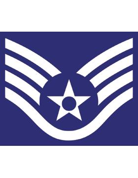 U.S. Air Force Chevron Decal White on Blue Staff Sergeant