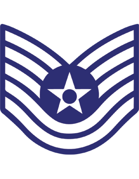 U.S. Air Force Chevron Decal White on Blue Technical Sergeant