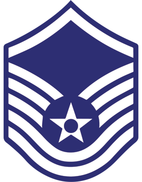 U.S. Air Force Chevron Decal White on Blue Master Sergeant
