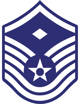 U.S. Air Force Chevron Decal White on Blue Master Sergeant with Diamond