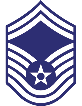 U.S. Air Force Chevron Decal White on Blue Senior Master Sergeant