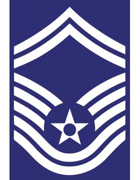 U.S. Air Force Chevron Decal White on Blue Senior Master Sergeant
