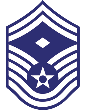 U.S. Air Force Chevron Decal White on Blue Senior Master Sergeant with Diamond