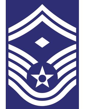 U.S. Air Force Chevron Decal White on Blue Senior Master Sergeant with Diamond