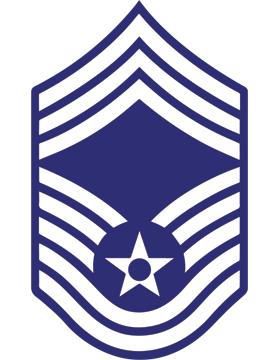 U.S. Air Force Chevron Decal White on Blue Chief Master Sergeant