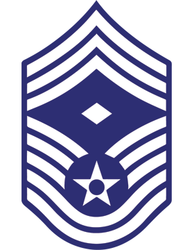 U.S. Air Force Chevron Decal White on Blue Chief Master Sergeant with Diamond