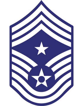 U.S. Air Force Chevron Decal White on Blue Command Chief Master Sergeant