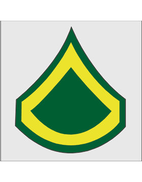 Gold on Green Chevron Decal Private First Class