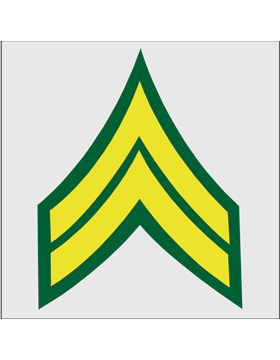 Gold on Green Chevron Decal Corporal
