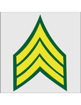 Gold on Green Chevron Decal Sergeant