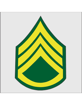 Gold on Green Chevron Decal Staff Sergeant
