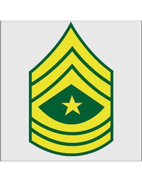 Gold on Green Chevron Decal Sergeant Major