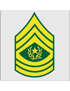 Gold on Green Chevron Decal Command Sergeant Major