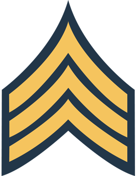 Gold on Blue Chevron Decal Sergeant