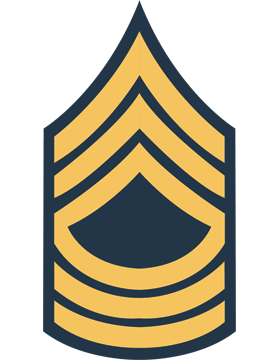 Gold on Blue Chevron Decal Master Sergeant