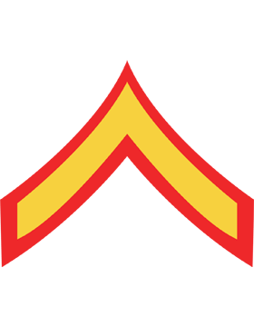 USMC Chevron Decal Gold on Red Private First Class small