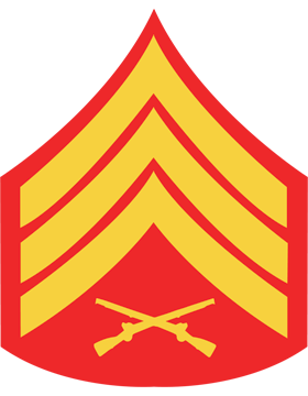USMC Chevron Decal Gold on Red Sergeant small
