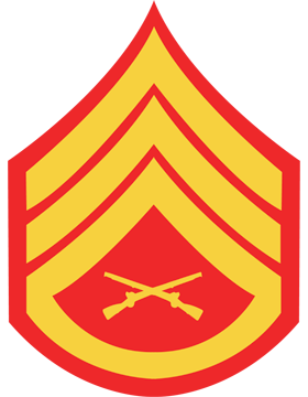 USMC Chevron Decal Gold on Red Staff Sergeant