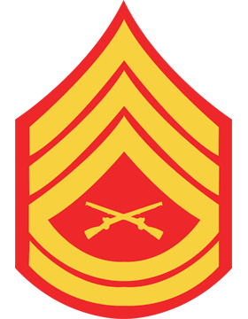 USMC Chevron Decal Gold on Red Gunnery Sergeant