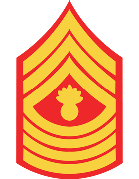 USMC Chevron Decal Gold on Red Master Gunnery Sergeant