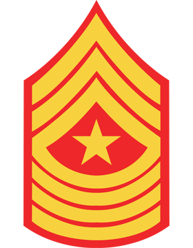 USMC Chevron Decal Gold on Red Sergeant Major