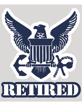 Navy Retired with Eagle Shield and Anchor Decal