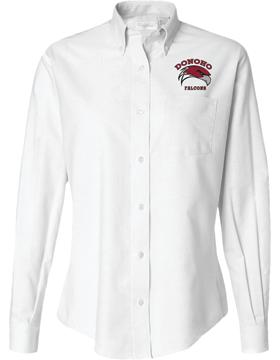 Donoho Falcons White Van Heusen Oxford Long Sleeve Shirt 13V0040