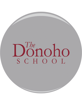 The Donoho School Maroon on Gray 3in Button Pin Back