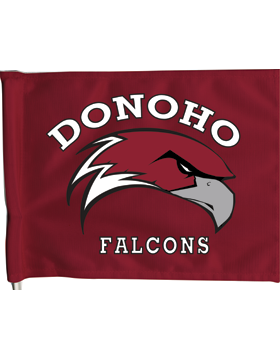 Donoho Falcons Car Maroon Flag