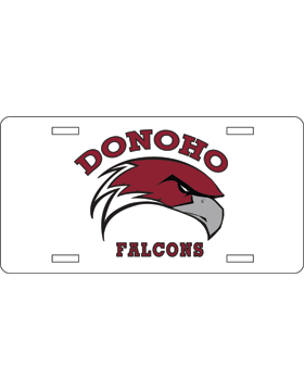 Donoho Falcons White License Plate