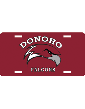Donoho Falcons Maroon License Plate