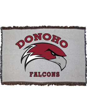 Donoho Falcons Gray Throw Blanket, Large 38in x 54in