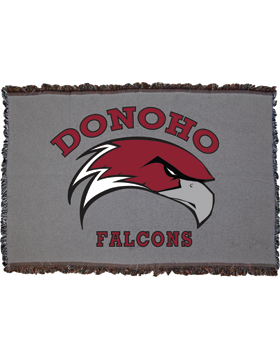 Donoho Falcons Dark Gray Throw Blanket, Large 38in x 54in