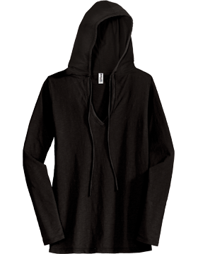 District Juniors Slub V Neck Hoodie DT241