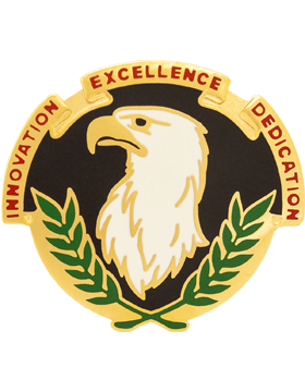 US Army Acquisition Spt Ctr Unit Crest Left (Innovation Excellence Dedication)