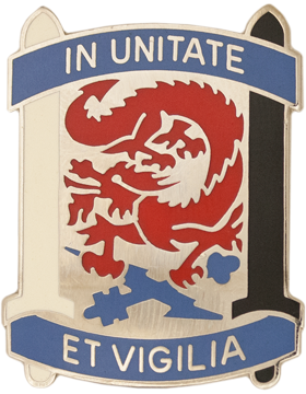 0501 Military Intelligence Brigade Unit Crest (In Unitate Et Vigilia)