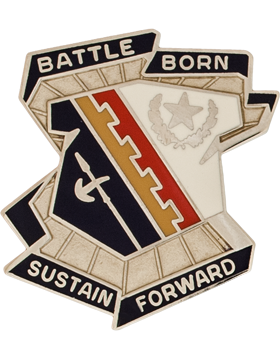 757th Support Battalion Unit Crest (BATTLE BORN SUSTAIN FORWARD)