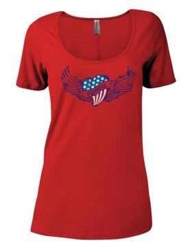 Ladies CVC Short Sleeve Scoop Neck Tee Heart & Wings P504C